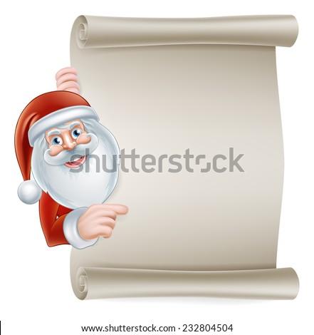 Cartoon Christmas Santa scroll sign of Santa Claus pointing at a scroll banner - stock vector