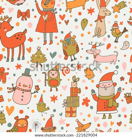 Cartoon Christmas seamless pattern for winter holidays ornaments in bright colors. Stylish New Year and Christmas background in vector - stock vector