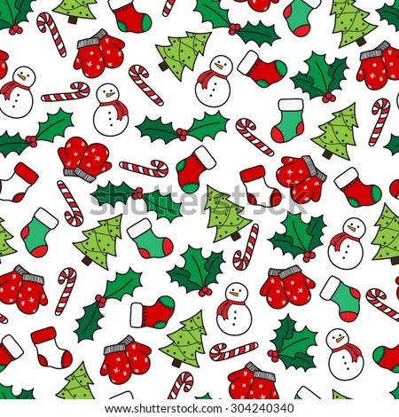 Cartoon christmas seamless pattern with stockings, mittens, candy cane, holly berries, snowman and with xmas tree. Hand drawn doodles on white background. Vector illustration eps8 - stock vector