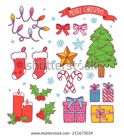 Cartoon christmas symbols collection, presents, ribbons, candies, lights and a christmas tree, vector illustration