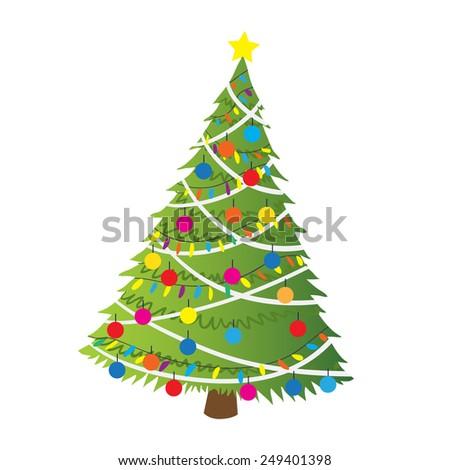 cartoon christmas tree flat sticker icon the vector illustration for ui web games - Christmas Tree Games