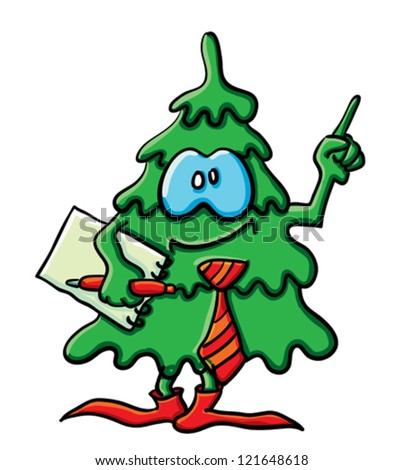 Cartoon Christmas tree with eyes, hands and feet - stock vector