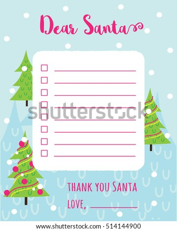 Cartoon Christmas Wish List Christmas Trees a Stock Vector 514144900 ...