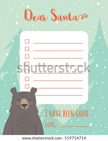 Cartoon Christmas Wish List Trees Bear Stock Vector 526593193 ...