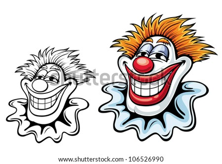 Cartoon circus clown for carnival, party or another entertainment design, such logo. Jpeg version also available in gallery