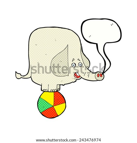 cartoon circus elephant with speech bubble