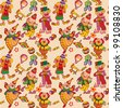 Cartoon circus seamless pattern. Vector art-illustration. - stock vector