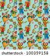 Cartoon circus seamless pattern. Vector art-illustration on a green background. - stock vector