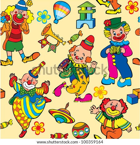 Cartoon circus seamless pattern. Vector art-illustration on a yellow background. - stock vector