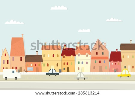 Cartoon city landscape. flat image - stock vector