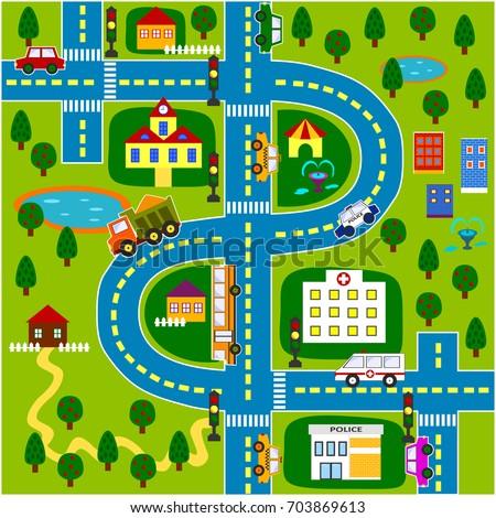 Cartoon City Map Stock Vector 703869613 Shutterstock