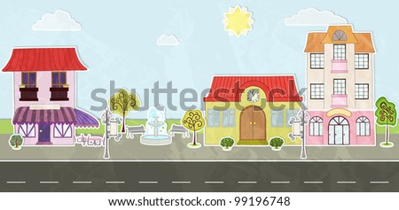 Cartoon city street, made of paper - stock vector