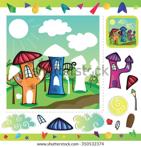 Cartoon city street with funny houses - cut and paste parts of the picture - stock vector