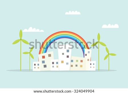 cartoon city with rainbow and windmills - stock vector
