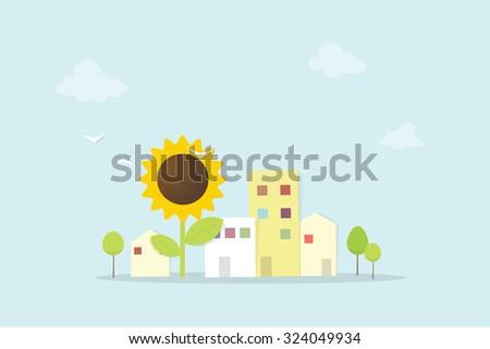 cartoon city with sunflower - stock vector