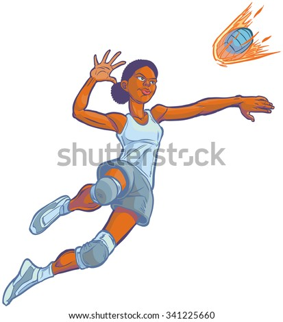 Cartoon clip art illustration of an African American girl volleyball player jumping to spike an incoming serve that looks like a fire ball. Uniform color can be customized in vector. - stock vector