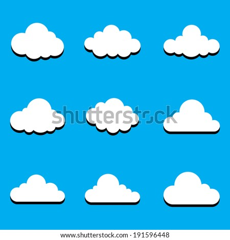 Cartoon Cloud Game Assets or Logo Clean Simple Fun Neat Version