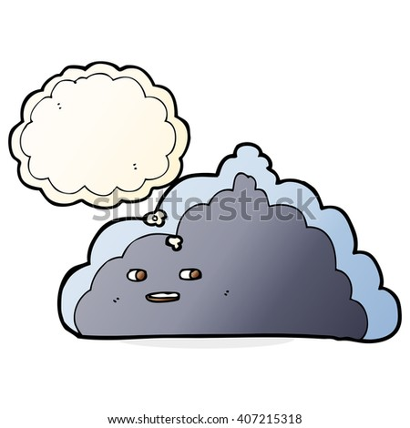 cartoon cloud with thought bubble - stock vector