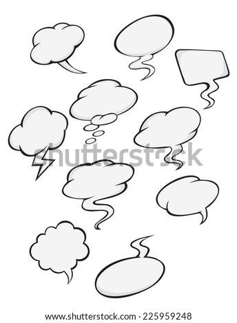 Cartoon clouds set for comics or another design - stock vector