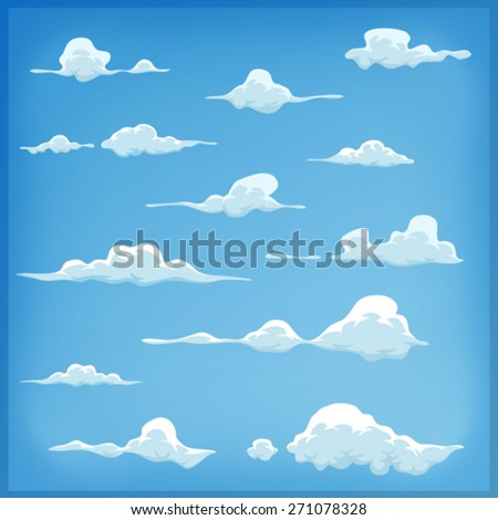 Cartoon Clouds Set On Blue Sky Background/ Illustration of a set of funny cartoon clouds, smoke patterns and fog icons, for filling your sky scenes or ui games backgrounds - stock vector
