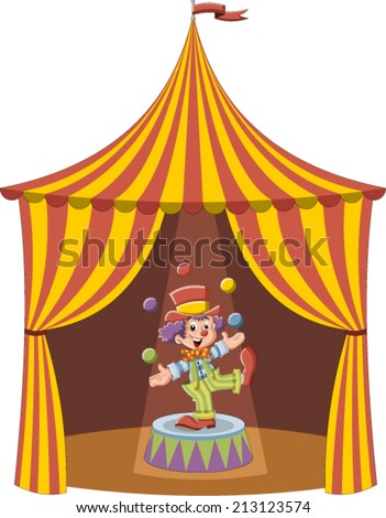 Cartoon clown boy juggling with colorful balls in a circus tent  - stock vector