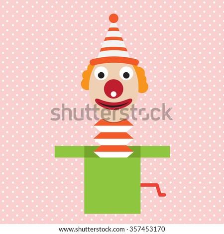 cartoon clown in box jester vector april flat illustration - stock vector