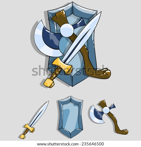 Cartoon coat of arms with a sword, ax and shield. Vector illustration. - stock vector