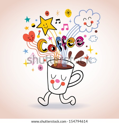 Cartoon coffee cup cute character - stock vector