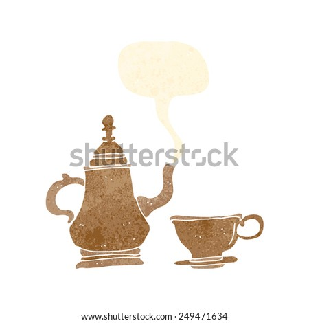 cartoon coffee pot and cup with speech bubble - stock vector