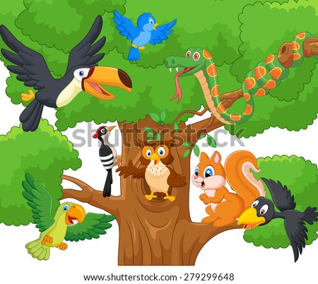 Cartoon collection animal on the trees.vector illustration - stock vector