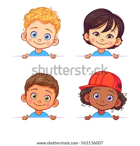 cartoon collection of little boys portraits various human races vector children characters of different