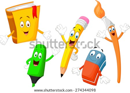 Cartoon collection of stationery - stock vector
