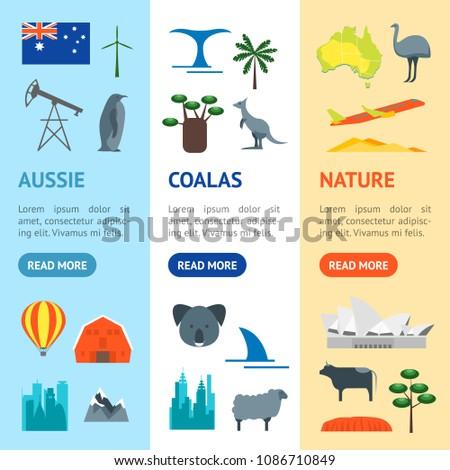 Cartoon Color Australia Discover Concept Travel Stock Vector