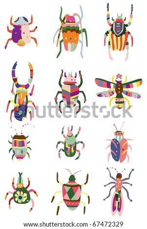 cartoon color bug  icon - stock vector