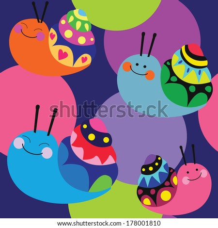 Cartoon color pattern with cute snails