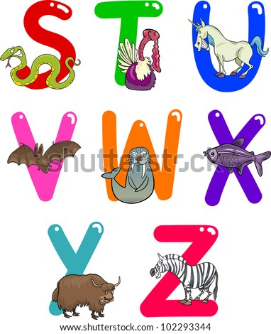 Cartoon Colorful Alphabet Set with Funny Animals - stock vector