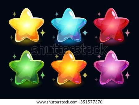 Cartoon colorful glossy stars on dark background, vector shiny icons - stock vector