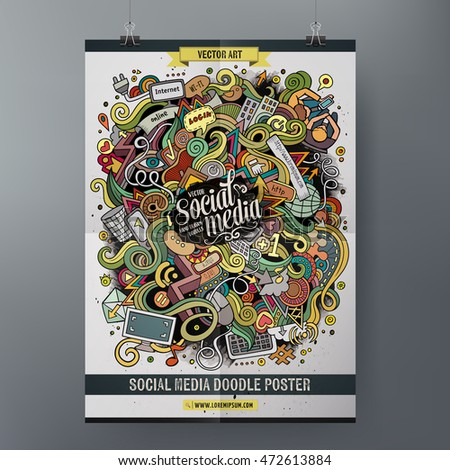Cartoon colorful hand drawn doodles Social poster template. Very detailed, with lots of objects illustration. Funny vector artwork. Corporate identity design.