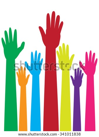 Cartoon colorful raised hands, volunteer, voting concept.