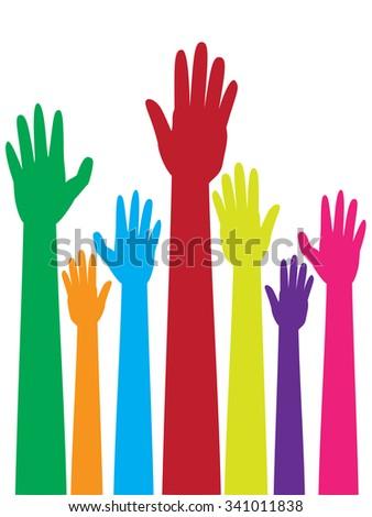 Cartoon colorful raised hands, volunteer, voting concept. - stock vector