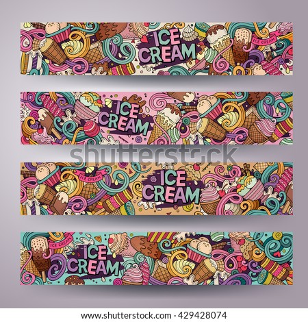 Cartoon colorful vector hand drawn doodles ice cream corporate identity. 4 Horizontal banners design. Templates set - stock vector