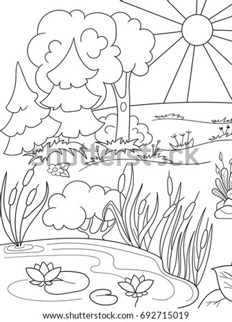 Cartoon Coloring Book Black White Nature Stock Vector (Royalty Free ...