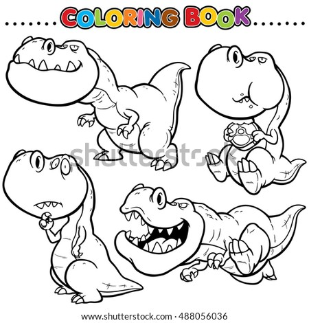Cartoon Coloring Book Dinosaurs Character Stock Photo Vector