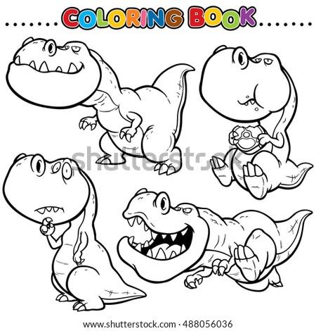 Cartoon Coloring Book Dinosaurs Character Stock Photo Vector