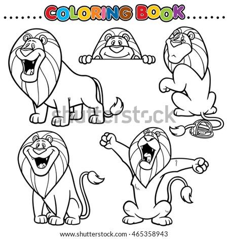 Cartoon Coloring Book Lion Stock Vector 465358943