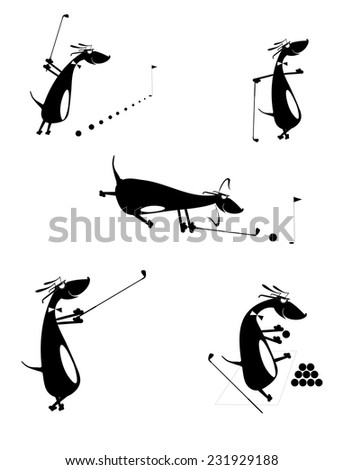 Cartoon comic dogs silhouettes golf set for design - stock vector