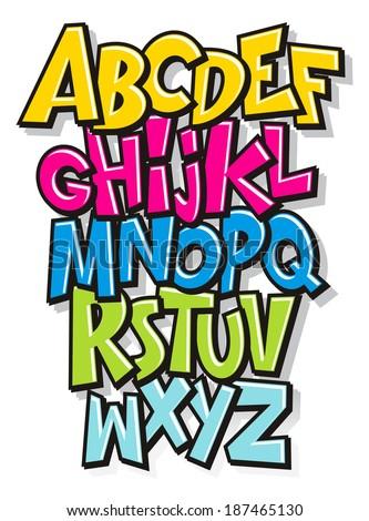 Cartoon comic doodle font alphabet. Vector - stock vector
