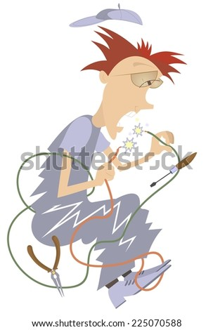 Cartoon comic electrician repairs wires and makes a short circuit - stock vector