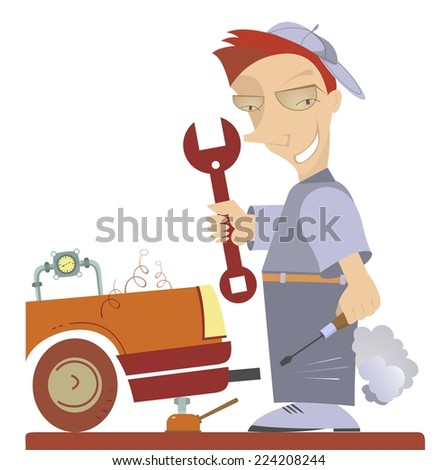 Cartoon comic mechanic repairs a car  - stock vector