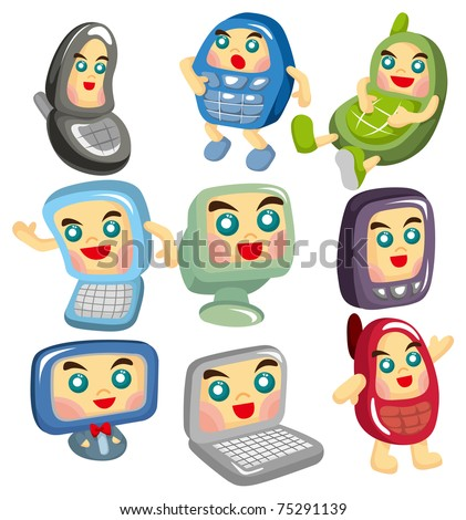 cartoon computer and phone face icon
